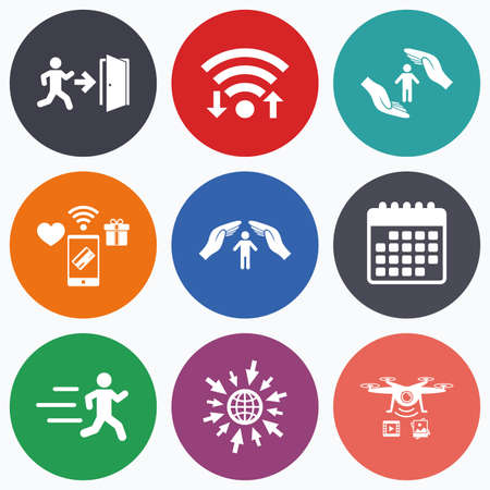arrow emergency exit: Wifi, mobile payments and drones icons. Life insurance hands protection icon. Human running symbol. Emergency exit with arrow sign. Calendar symbol. Illustration