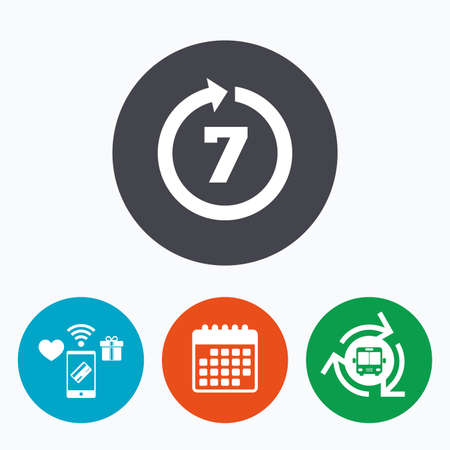days: Return of goods within 7 days sign icon. Warranty exchange symbol. Mobile payments, calendar and wifi icons. Bus shuttle.