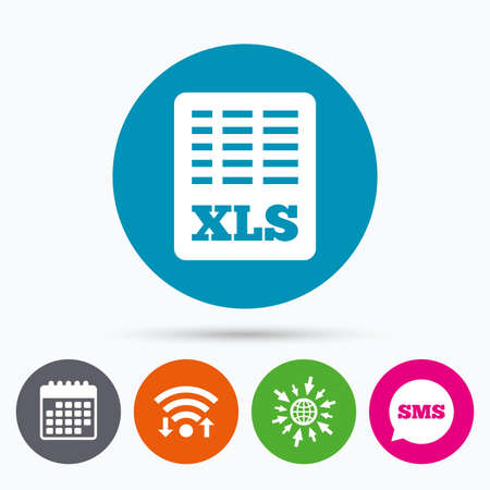 excel: Wifi, Sms and calendar icons. Excel file document icon. Download xls button. XLS file symbol. Go to web globe.