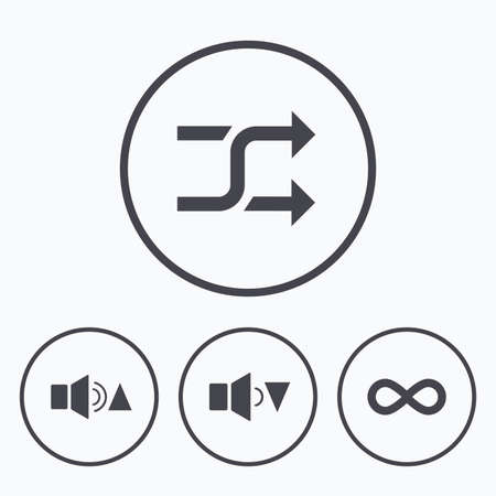 quieter: Player control icons. Sound louder and quieter signs. Dynamic symbol. Shuffle random and repeat loop. Icons in circles.