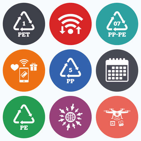 pp: Wifi, mobile payments and drones icons. PET 1, PP-pe 07, PP 5 and PE icons. High-density Polyethylene terephthalate sign. Recycling symbol. Calendar symbol.