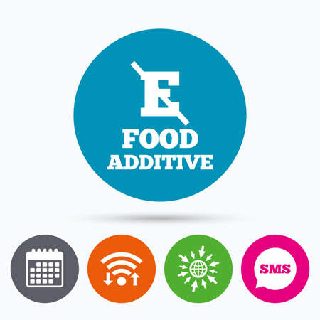stabilizers: Wifi, Sms and calendar icons. Food additive sign icon. Without E symbol. Healthy natural food. Go to web globe.