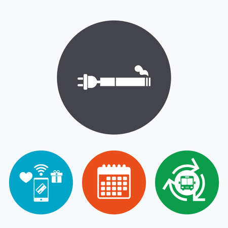 electronic cigarette: Smoking sign icon. E-Cigarette symbol. Electronic cigarette. Mobile payments, calendar and wifi icons. Bus shuttle. Illustration