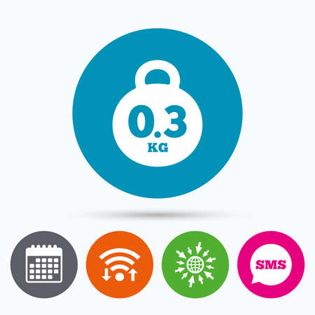 03: Wifi, Sms and calendar icons. Weight sign icon. 0.3 kilogram (kg). Envelope mail weight. Go to web globe.