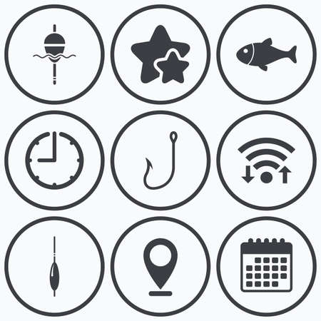 bobber: Clock, wifi and stars icons. Fishing icons. Fish with fishermen hook sign. Float bobber symbol. Calendar symbol.