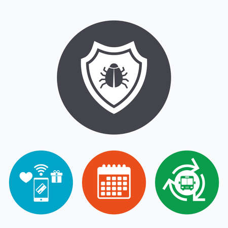 virus protection: Shield sign icon. Virus protection symbol. Bug symbol. Mobile payments, calendar and wifi icons. Bus shuttle.