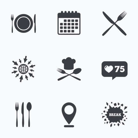 etiquette: Calendar, like counter and go to web icons. Plate dish with forks and knifes icons. Chief hat sign. Crosswise cutlery symbol. Dining etiquette. Location pointer.