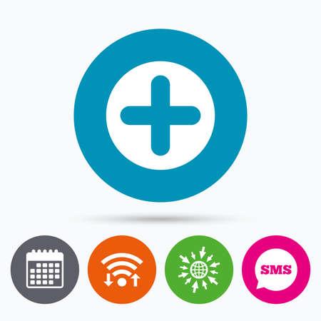 Wifi, Sms en agenda iconen. Plusteken icoon. Positief symbool. Opnieuw in. Ga naar web wereld.