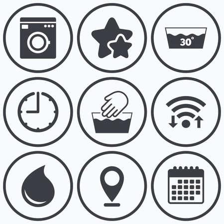 Clock, Wi-Fi und Sterne Symbole. Handwäsche Symbol. Maschinenwäsche bei 30 Grad Symbole. Wäschewaschhaus und Wassertropfen Zeichen. Kalender-Symbol. Vektorgrafik