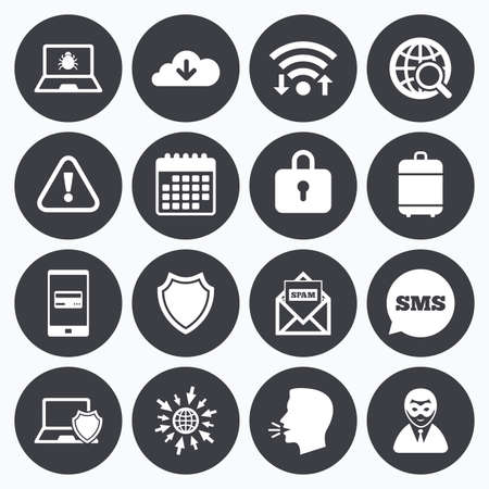 breakin: Wifi, calendar and mobile payments. Internet privacy icons. Cyber crime signs. Virus, spam e-mail and anonymous user symbols. Sms speech bubble, go to web symbols.