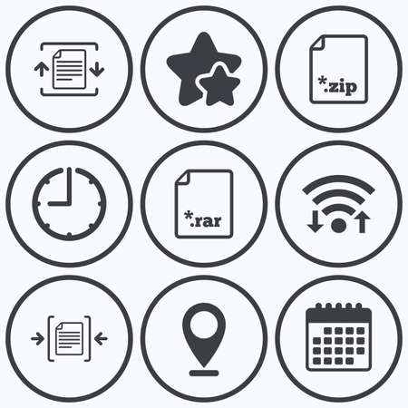 zipped: Clock, wifi and stars icons. Archive file icons. Compressed zipped document signs. Data compression symbols. Calendar symbol. Illustration
