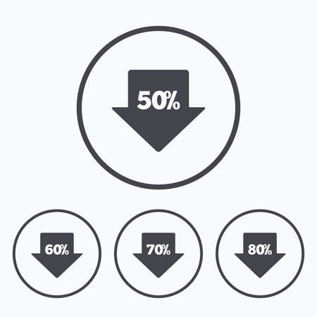 60 70: Sale arrow tag icons. Discount special offer symbols. 50%, 60%, 70% and 80% percent discount signs. Icons in circles. Illustration