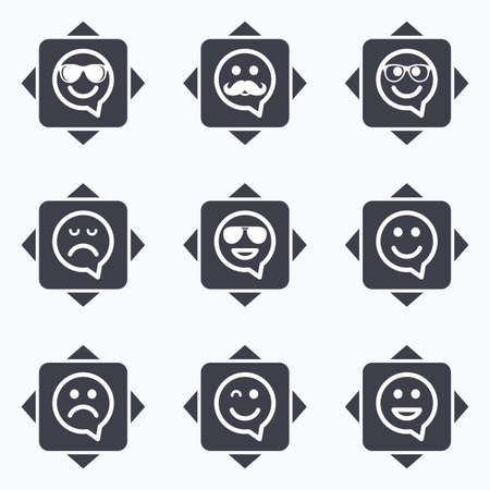 wink: Icons with direction arrows. Smile speech bubbles icons. Happy, sad and wink faces signs. Sunglasses, mustache and laughing lol smiley symbols. Square buttons. Illustration
