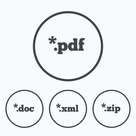 zipped: Document icons. File extensions symbols. PDF, ZIP zipped, XML and DOC signs. Icons in circles.