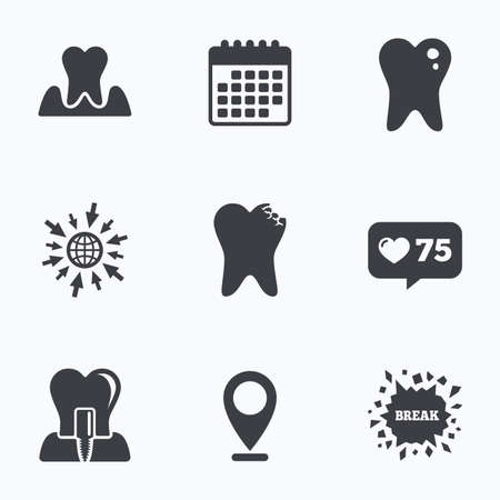 gingivitis: Calendar, like counter and go to web icons. Dental care icons. Caries tooth sign. Tooth endosseous implant symbol. Parodontosis gingivitis sign. Location pointer.