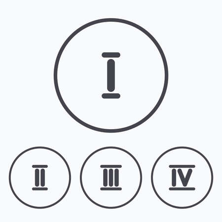 ancient roman: Roman numeral icons. 1, 2, 3 and 4 digit characters. Ancient Rome numeric system. Icons in circles.