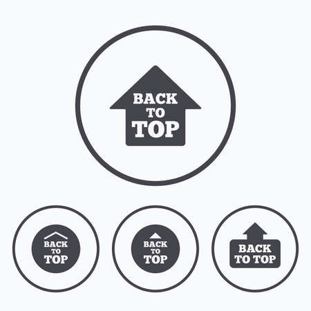 scroll up: Back to top icons. Scroll up with arrow sign symbols. Icons in circles. Illustration