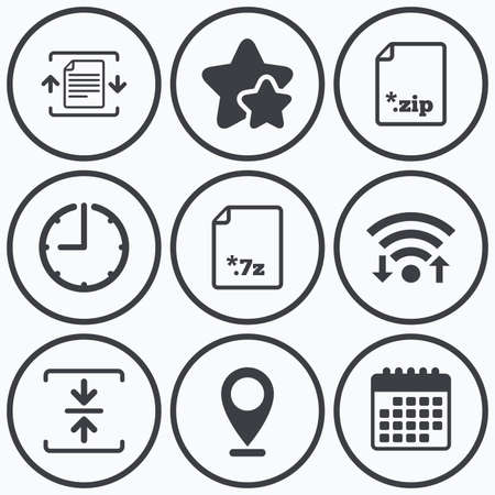 compression: Clock, wifi and stars icons. Archive file icons. Compressed zipped document signs. Data compression symbols. Calendar symbol. Illustration