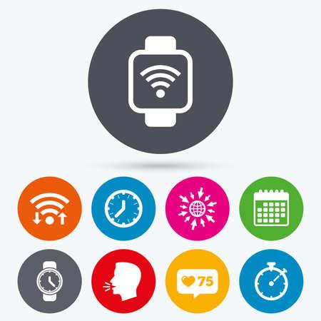 digital clock: Wifi, like counter and calendar icons. Smart watch wi-fi icons. Mechanical clock time, Stopwatch timer symbols. Wrist digital watch sign. Human talk, go to web.