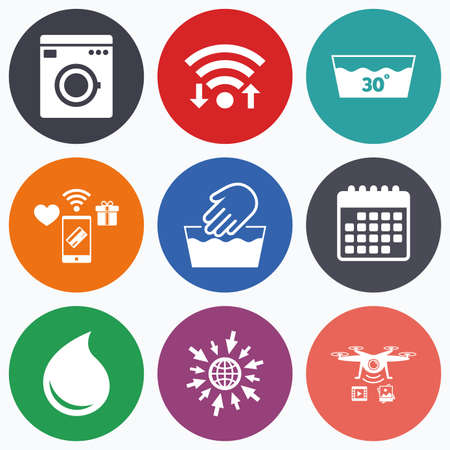 washhouse: Wifi, mobile payments and drones icons. Hand wash icon. Machine washable at 30 degrees symbols. Laundry washhouse and water drop signs. Calendar symbol.