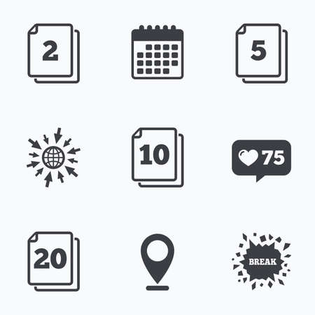2 5: Calendar, like counter and go to web icons. In pack sheets icons. Quantity per package symbols. 2, 5, 10 and 20 paper units in the pack signs. Location pointer. Illustration