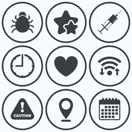 syringe inoculation: Clock, wifi and stars icons. Bug and vaccine syringe injection icons. Heart and caution with exclamation sign symbols. Calendar symbol.