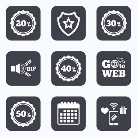 20 30: Mobile payments, wifi and calendar icons. Sale discount icons. Special offer stamp price signs. 20, 30, 40 and 50 percent off reduction symbols. Go to web symbol.