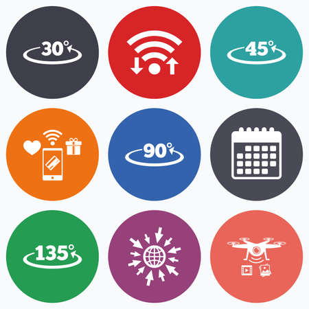 wireless mobile payments and drones icons. Angle 30-135 degrees icons. Geometry math signs symbols. Full complete rotation arrow. Calendar symbol.