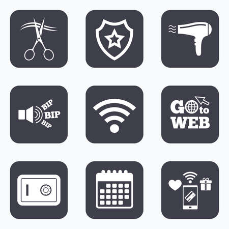 safe and sound: Mobile payments, wifi and calendar icons. Hotel services icons. Wi-fi, Hairdryer and deposit lock in room signs. Wireless Network. Hairdresser or barbershop symbol. Go to web symbol. Illustration