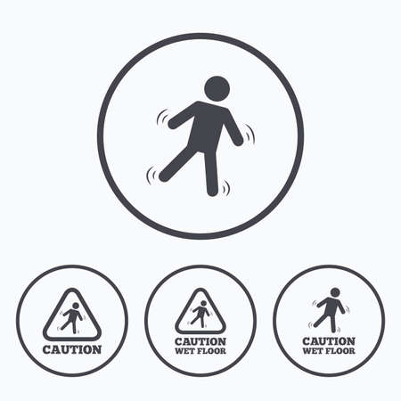 wet floor caution sign: Caution wet floor icons. Human falling triangle symbol. Slippery surface sign. Icons in circles.