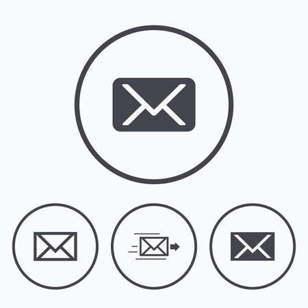 webmail: Mail envelope icons. Message delivery symbol. Post office letter signs. Icons in circles. Illustration