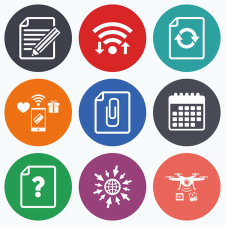 attach: Wifi, mobile payments and drones icons. File refresh icons. Question help and pencil edit symbols. Paper clip attach sign. Calendar symbol.