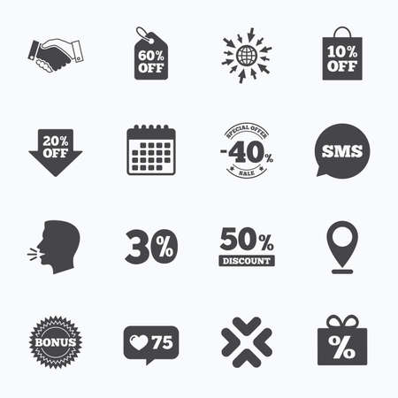 20 30: Calendar, go to web and like counter. Sale discounts icon. Shopping, handshake and bonus signs. 20, 30, 40 and 50 percent off. Special offer symbols. Sms speech bubble, talk symbols.