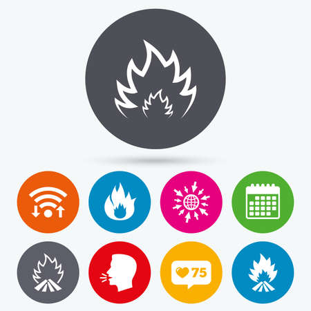 inflammable: Wifi, like counter and calendar icons. Fire flame icons. Heat symbols. Inflammable signs. Human talk, go to web. Illustration