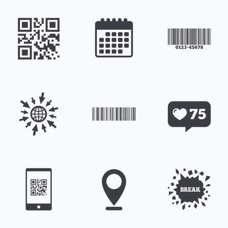 barcode scan: Calendar, like counter and go to web icons. Bar and Qr code icons. Scan barcode in smartphone symbols. Location pointer. Illustration