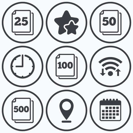 Clock, wifi and stars icons. In pack sheets icons. Quantity per package symbols. 25, 50, 100 and 500 paper units in the pack signs. Calendar symbol. Illustration