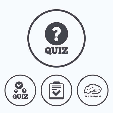 poll: Quiz icons. Human brain think. Checklist with check mark symbol. Survey poll or questionnaire feedback form sign. Icons in circles.