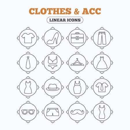 woman tie: Linear icons with direction arrows. Clothes and accessories icons. Shirt with tie, pants and woman dress symbols. Hat, hanger and glasses thin outline signs. Underwear and maternity clothes. Circle buttons.