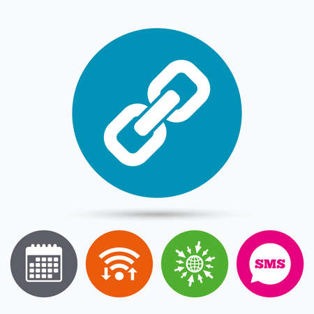 appendix: Wifi, Sms and calendar icons. Link sign icon. Hyperlink chain symbol. Go to web globe. Illustration