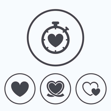 palpitation: Heart ribbon icon. Timer stopwatch symbol. Love and Heartbeat palpitation signs. Icons in circles.