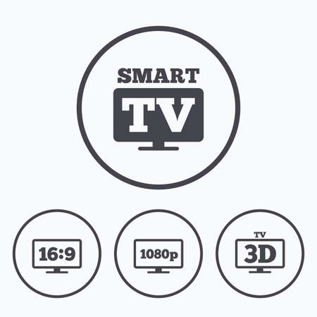aspect: Smart TV mode icon. Aspect ratio 16:9 widescreen symbol. Full hd 1080p resolution. 3D Television sign. Icons in circles.