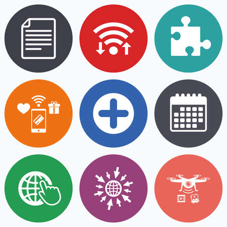 puzzle globe: Wifi, mobile payments and drones icons. Plus add circle and puzzle piece icons. Document file and globe with hand pointer sign symbols. Calendar symbol. Illustration