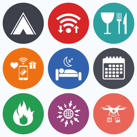 breakfast in bed: wireless mobile payments and drones icons. Food, sleep, camping tent and fire icons. Knife, fork and wineglass. Hotel or bed and breakfast. Road signs. Calendar symbol. Illustration