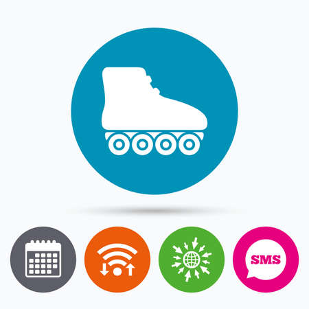 rollerblades: Wifi, Sms and calendar icons. Roller skates sign icon. Rollerblades symbol. Go to web globe. Illustration