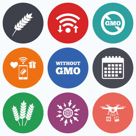 modified: Wifi, mobile payments and drones icons. Agricultural icons. Gluten free or No gluten signs. Without Genetically modified food symbols. Calendar symbol. Illustration