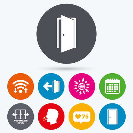 arrow emergency exit: Wifi, like counter and calendar icons. Automatic door icon. Emergency exit with arrow symbols. Fire exit signs. Human talk, go to web. Illustration