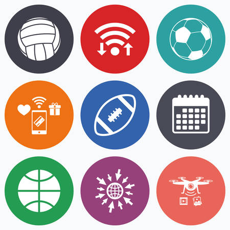 american downloads: Wifi, mobile payments and drones icons. Sport balls icons. Volleyball, Basketball, Soccer and American football signs. Team sport games. Calendar symbol.