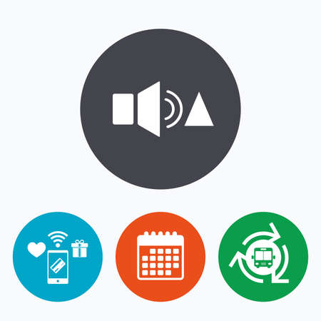 louder: Speaker volume louder sign icon. Sound symbol. Mobile payments, calendar and wifi icons. Bus shuttle. Illustration