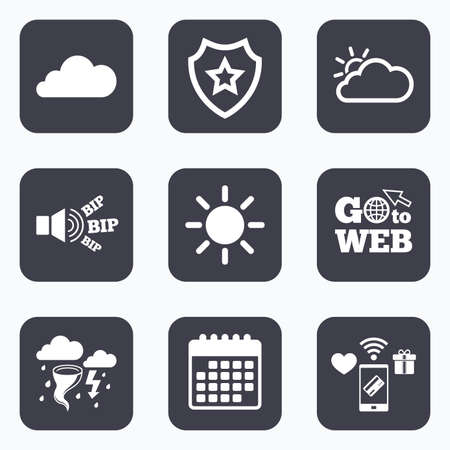 gale: Mobile payments, wifi and calendar icons. Weather icons. Cloud and sun signs. Storm or thunderstorm with lightning symbol. Gale hurricane. Go to web symbol.