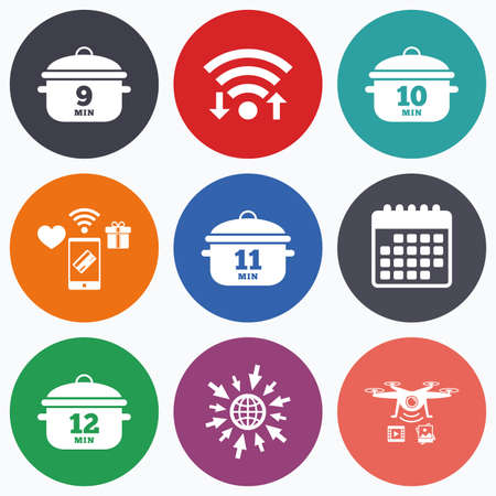 10 12: Wifi, mobile payments and drones icons. Cooking pan icons. Boil 9, 10, 11 and 12 minutes signs. Stew food symbol. Calendar symbol. Illustration